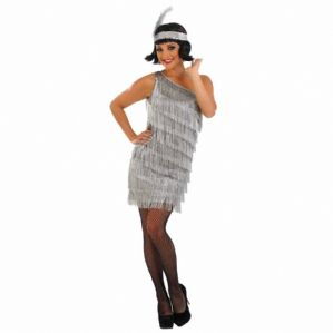 Roaring 20's Flapper XL Plus Size Costume Silver